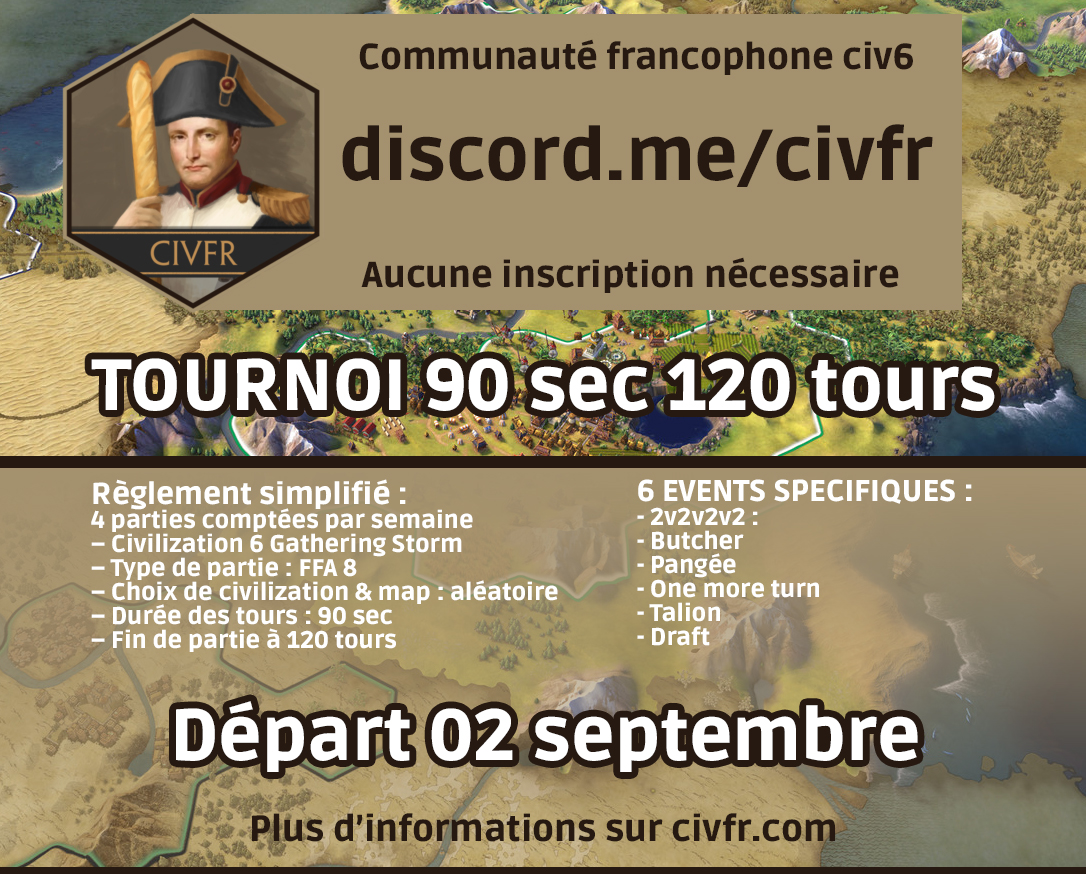 tournoi septembre 120 tours 90 sec civfr CIVILIZATION 6